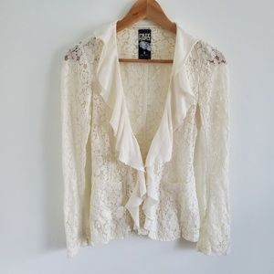 Free People Lace Rufle Cardigan Top Size 0